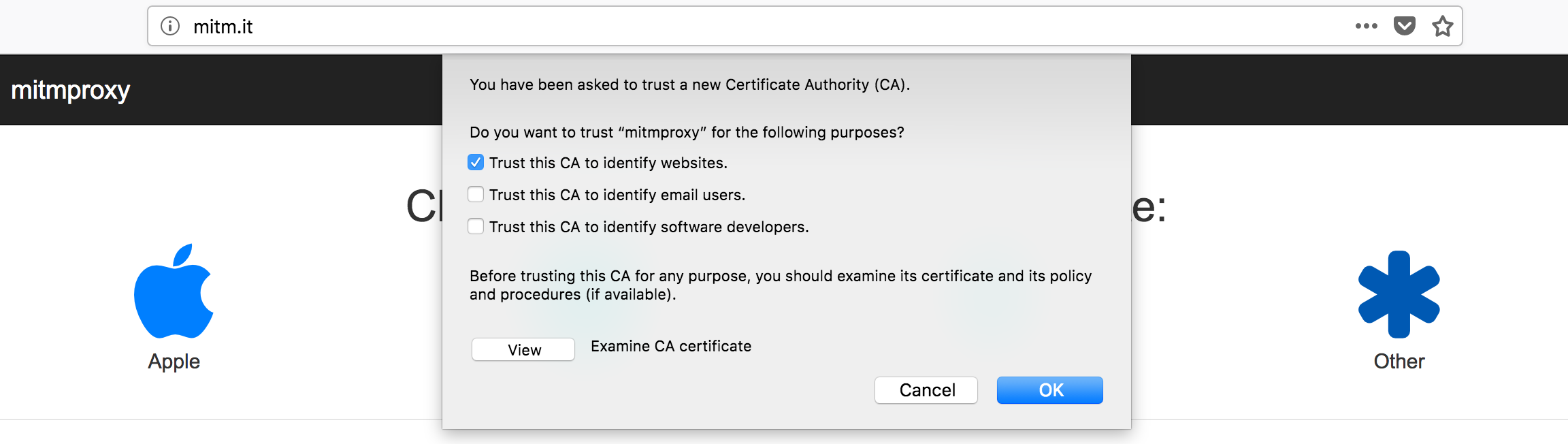 Certificate installation prompt