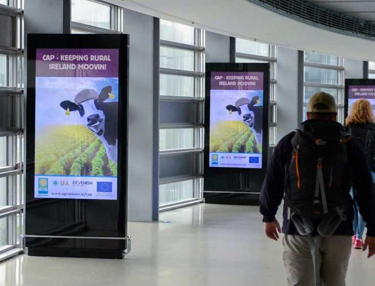 agri aware digital advertisements in airport