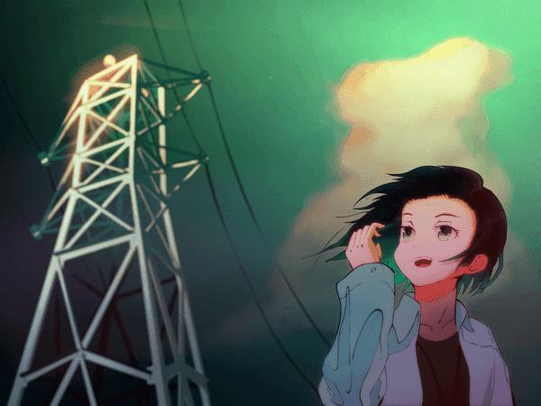 鉄塔と人物