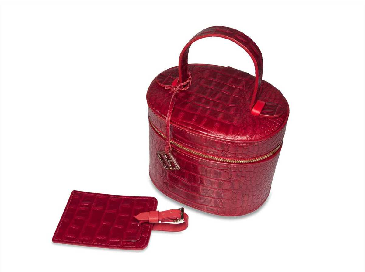 2teiliges Make-up Box Set - Krokoprägung rot