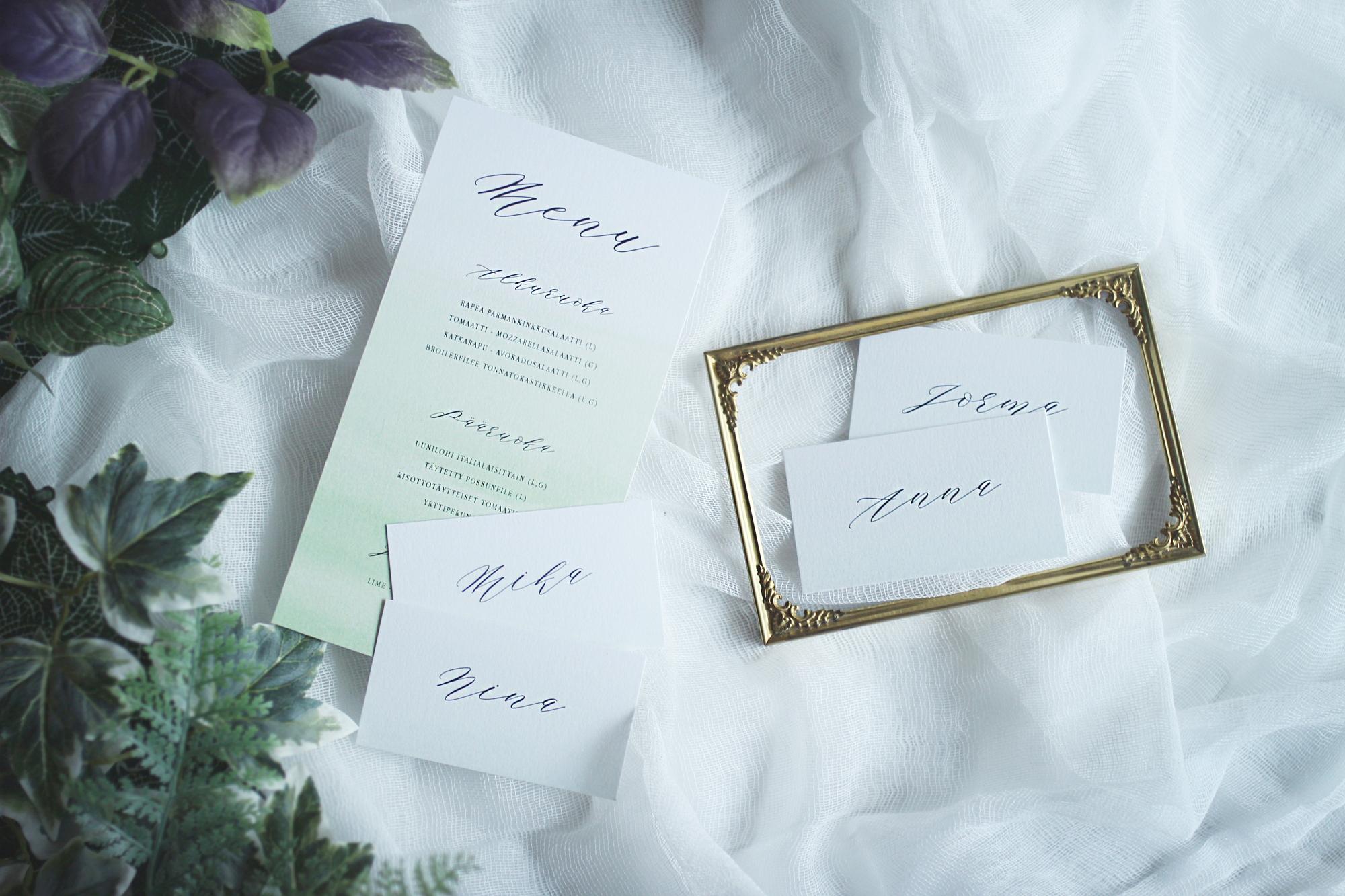 minimalist menu & place cards, pre-designed collection item