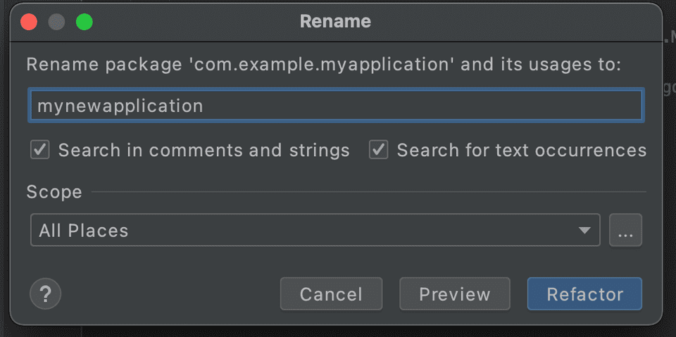 android studio rename package
