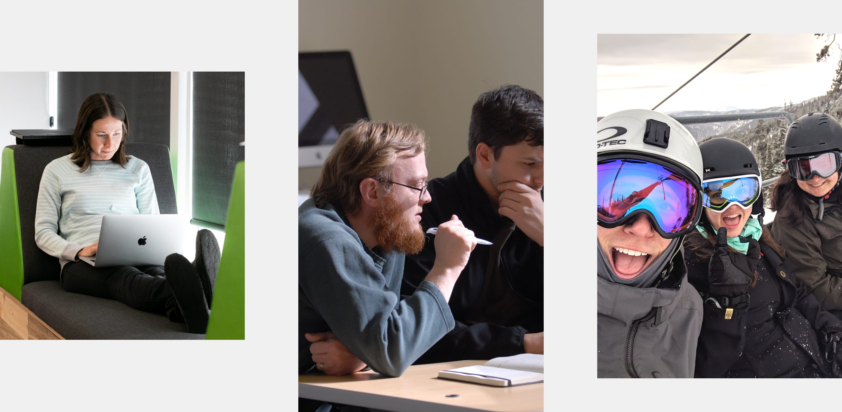 three equidistant photos of MojoTech staff. The first is of Allison programming on a laptop. The second of Chris and Seth reviewing code. The thrid of of Mojos on a ski lift.