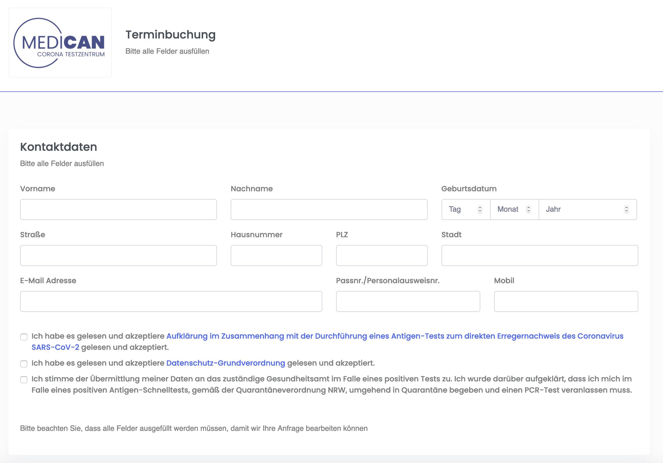 Screenshot der Voranmeldung zum Test