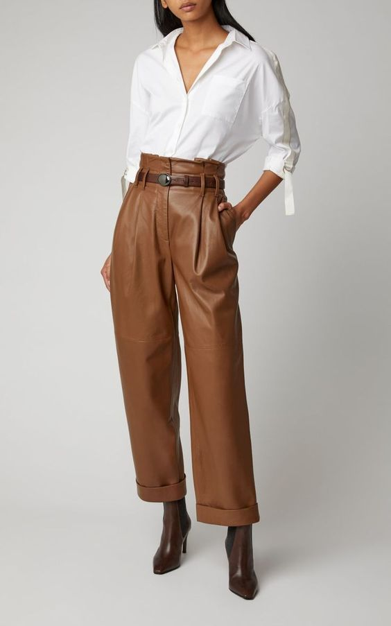 Pantalon large en cuir