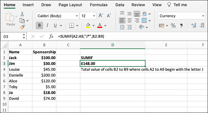 A screenshot taking from Microsoft Excel showing the SUMIF function in action