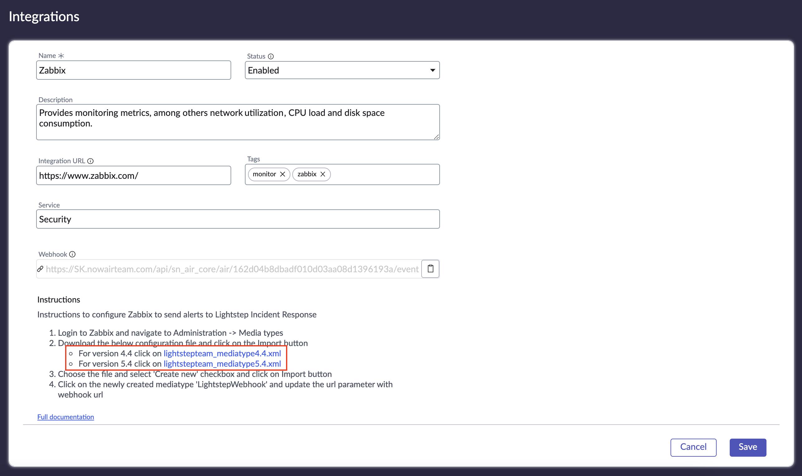 Links for Zabbix configuration files.