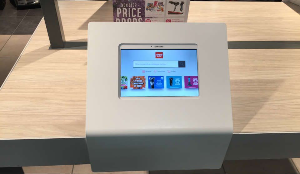 A Samsung tablet in and Argos store