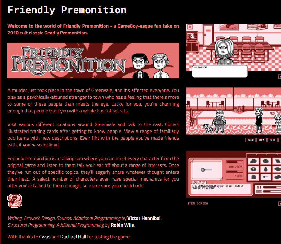 A Screenshot Of The Itch.Io Page Of Friendly Premonition.