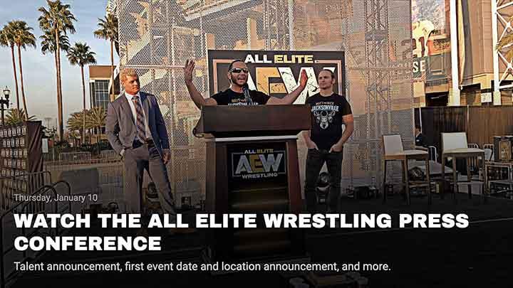 All Elite Wrestling web design mock-up