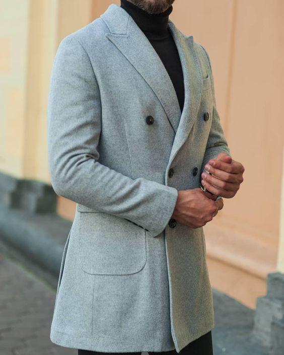 Manteau homme hiver laine gris clair