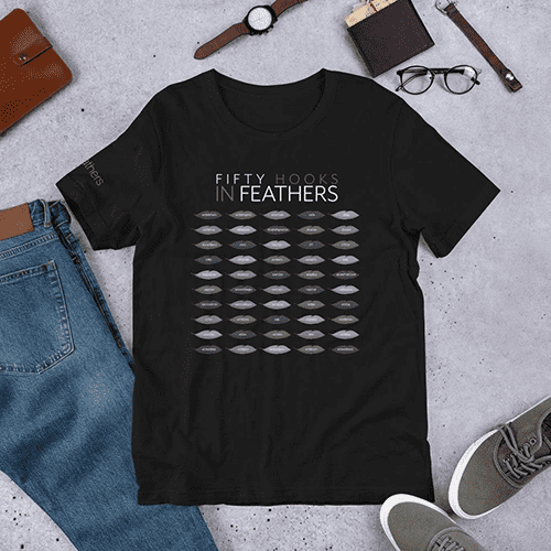black t-shirt showing fifty feathersjs hooks