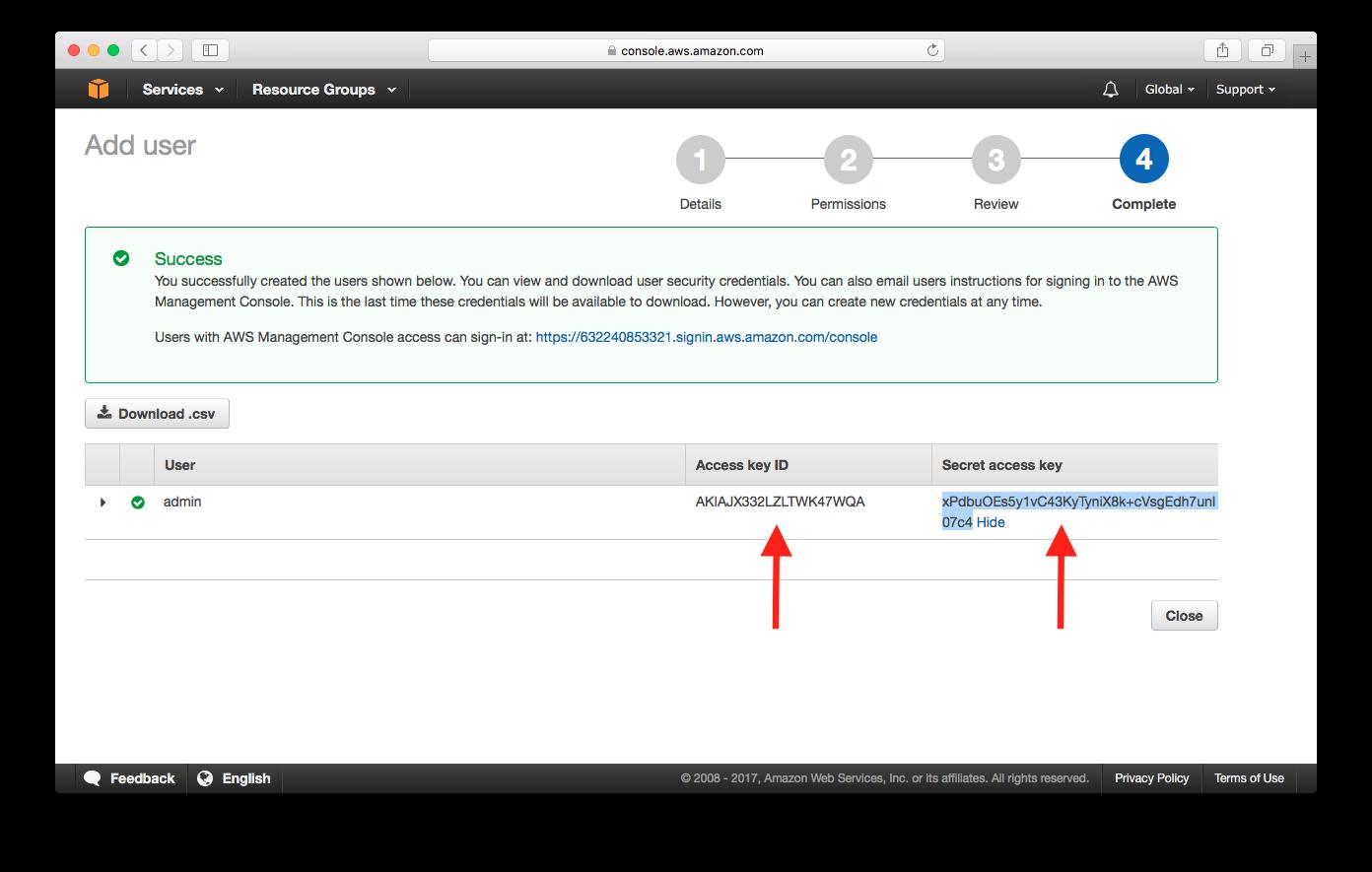 IAM User Credentials Screenshot