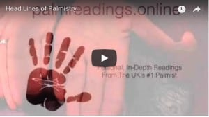 Still from the tutorial video: the head line in palmistry