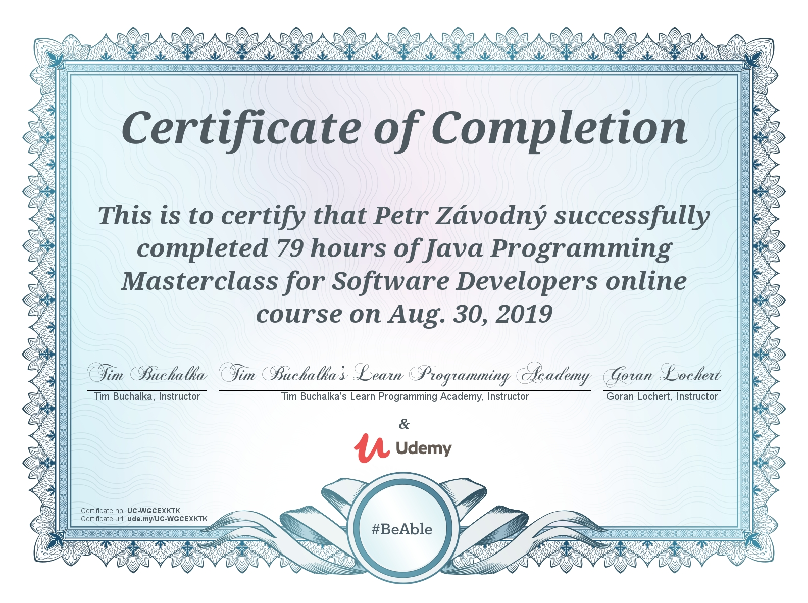 certificate Java Programming Masterclass for Software Developers