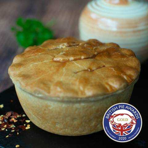 Chip Shop Chicken Curry Pie with awards
