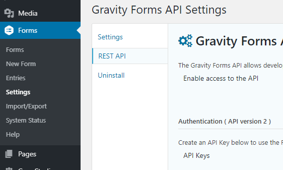 WordPress Gravity Forms REST API Settings panel