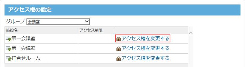 アクセス権を変更する操作リンクが囲まれた画像