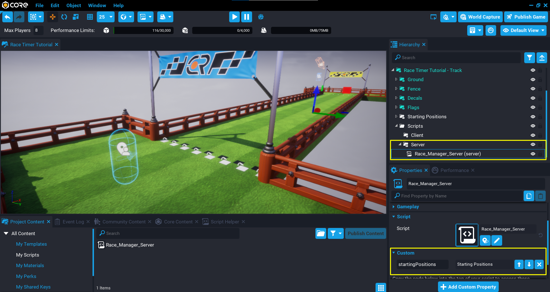 RaceManager_Server Script and Custom Property