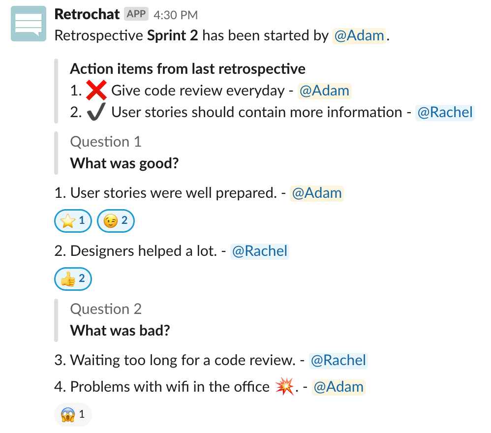 Retrospective in Retrochat