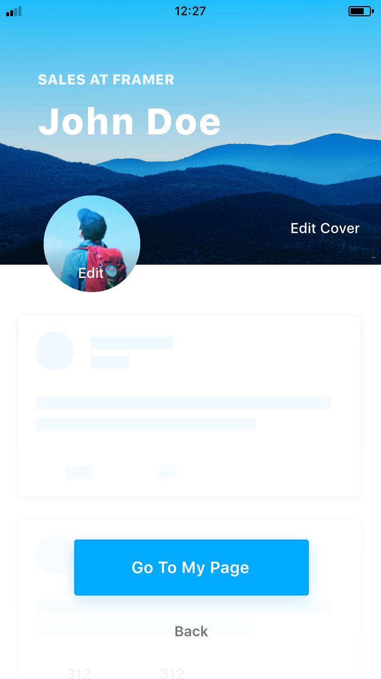 Fiber UI Kit: edit profile screen
