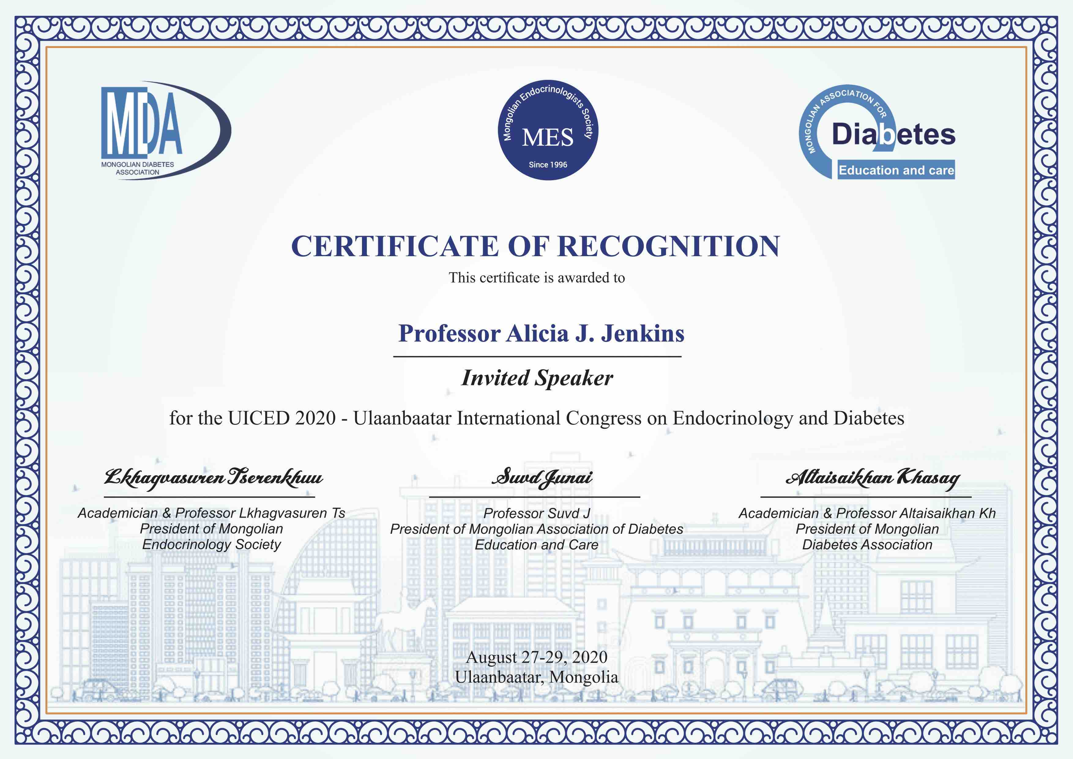Certificate of Recognition from Ulaanbaatar International Congress on Endocrinology & Diabetes