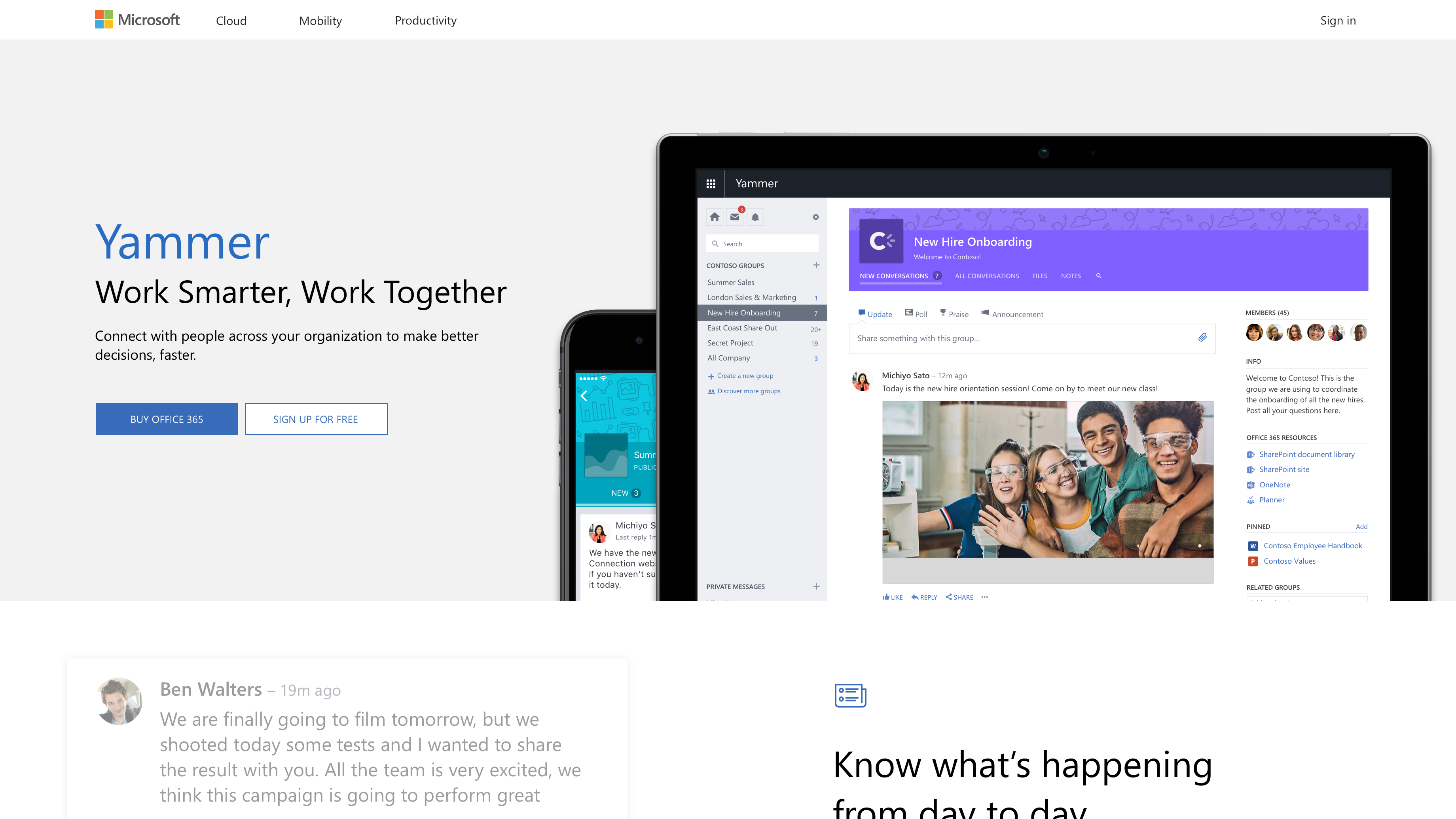 Yammer marketing pages