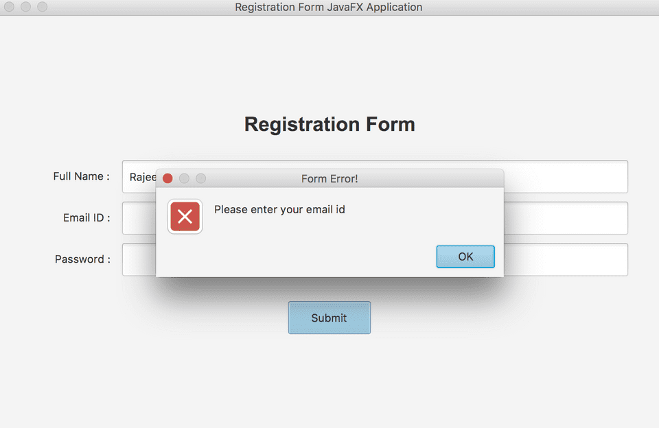 JavaFX layout registration form error example