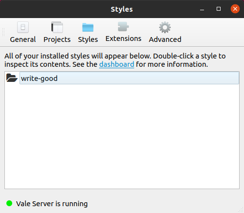 A screenshot of Vale Server's 'Styles' settings page.
