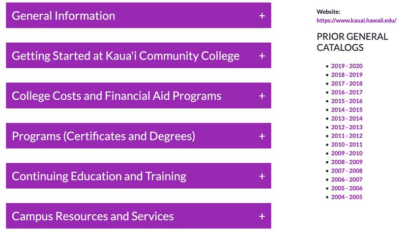 Kauai Community College Academic Catalog Landing Page