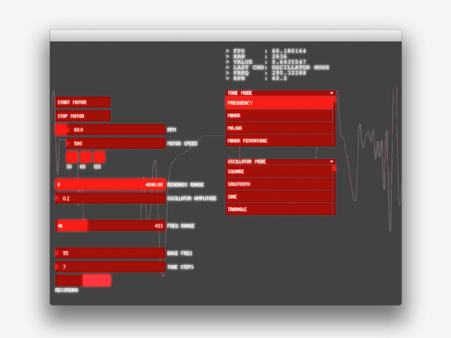 Screenshot of the program's workings, showing translated graphic sound waves based on the surface qualities of the suspended object.