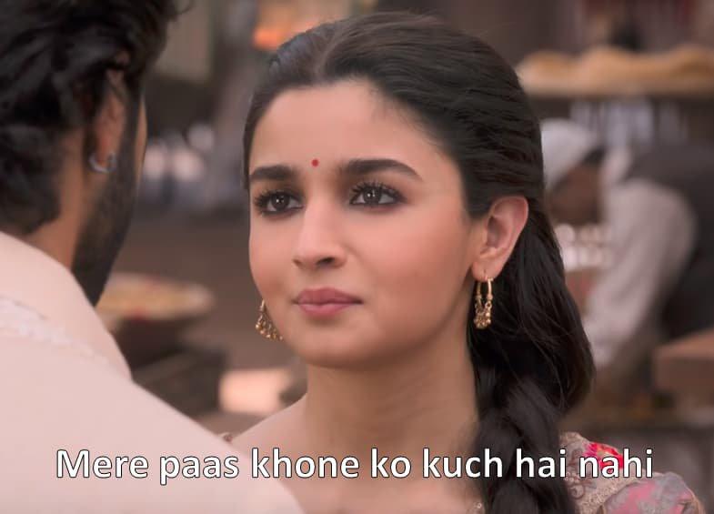 Alia Bhatt in Kalank Trailer Mere paas khone ko kuch nahi hai