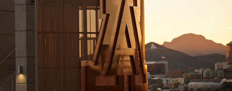 Up close of the A logo on the University of Arizona campus
