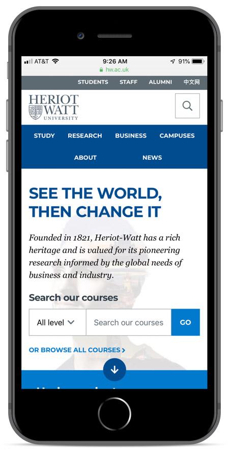 Heriot Watt's homepage as viewed on an iPhone 8