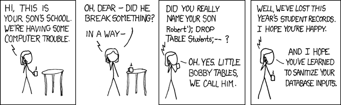 "As illustrated in this xkcd cartoon, many exploits, including buffer overflow, SQL injections, and more, utilize the blurry line between ""active programs"" and ""static strings""."
