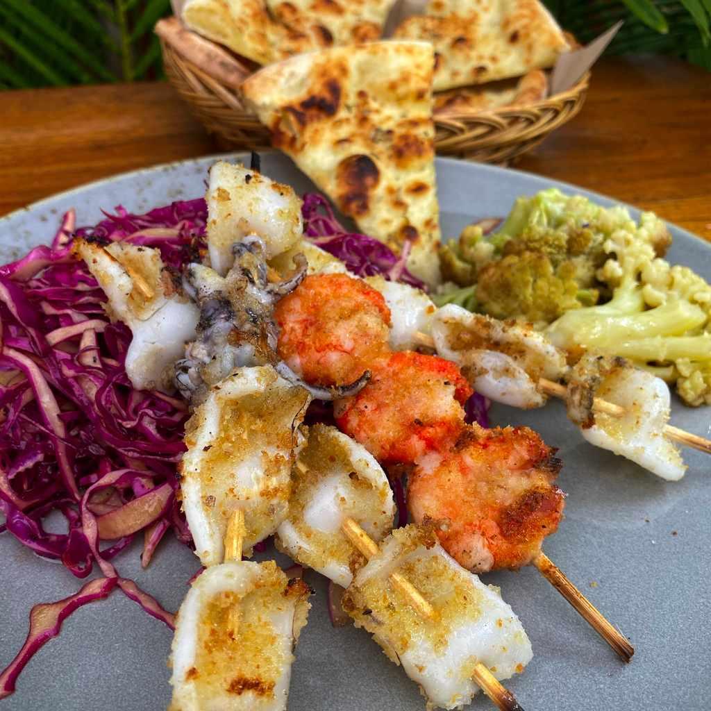 specials: prawn & squid skewer