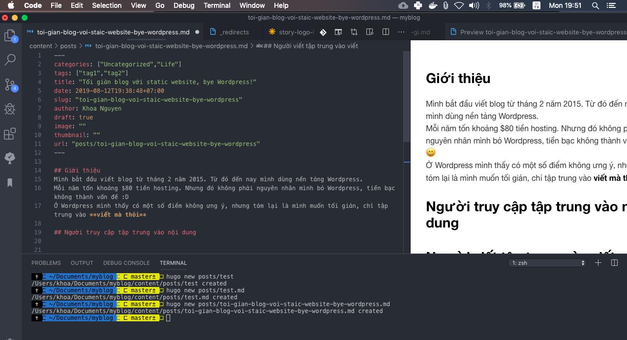 Dùng Visual Studio Code làm Editor khi dùng static website
