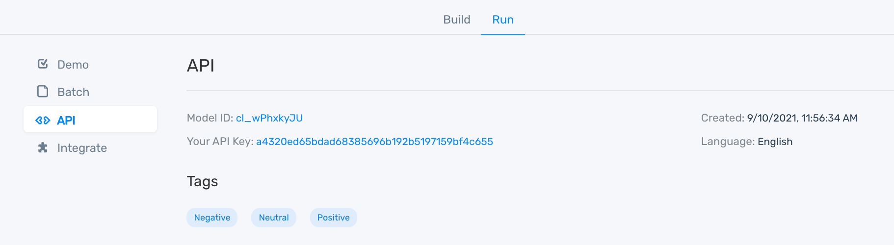 Details of MonkeyLearn's sentiment analysis API (model ID and API key)