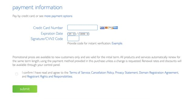 Bluehost account payment