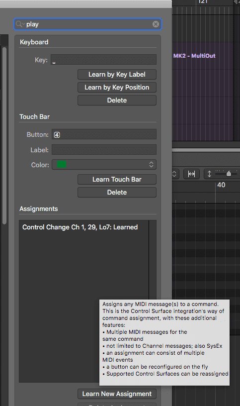 The Select key command window in Logic Pro X