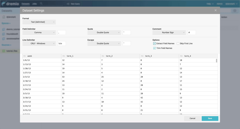 Dremio and D3 tutorial - NAS data source