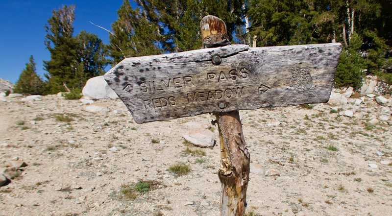 Direction sign near Silver Pass on the PCT