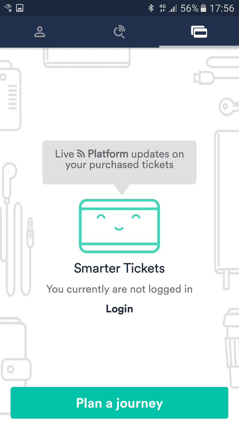 Screenshot of Not logged in yet in Trainline for Android