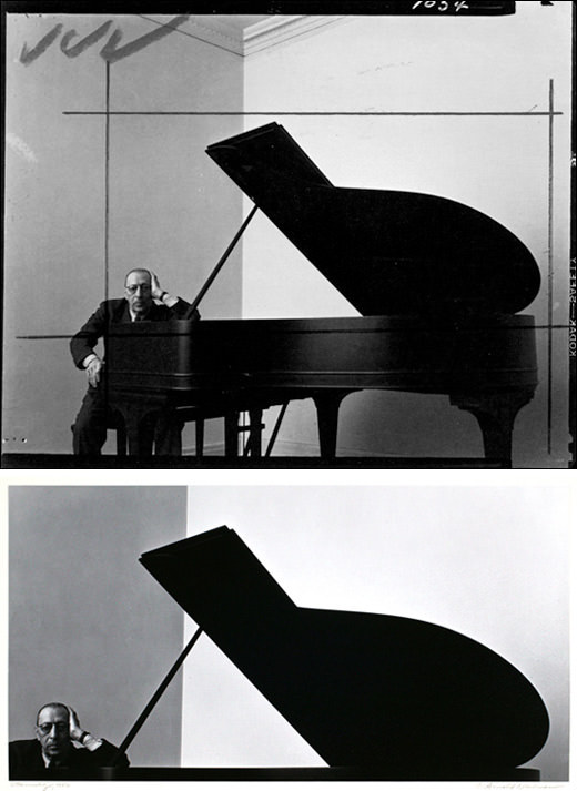 The cropping of this photo forces us to focus only on the important details by removing the distracting elements, such as the ceiling corner and piano legs. What remains is a well-balanced, almost abstract image that highlights the similarities between the pianist and his piano, both of which have a similar shape and angle within the frame.