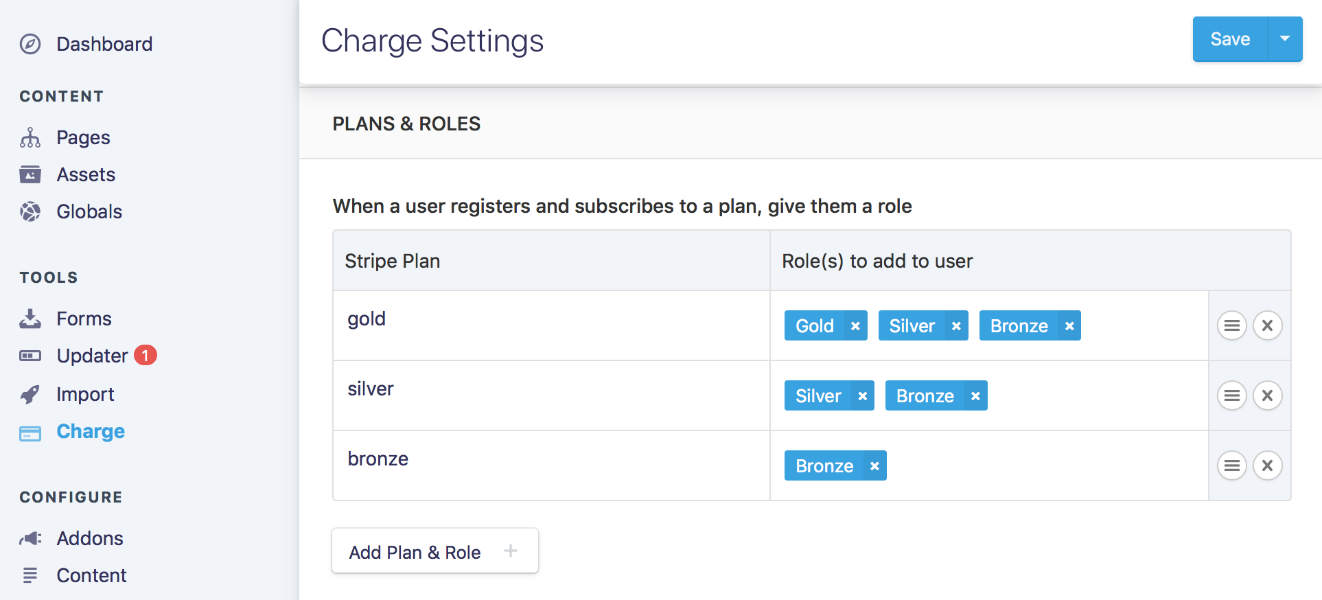 Mapping Stripe plans to Roles in the Statamic Control Panel with Charge