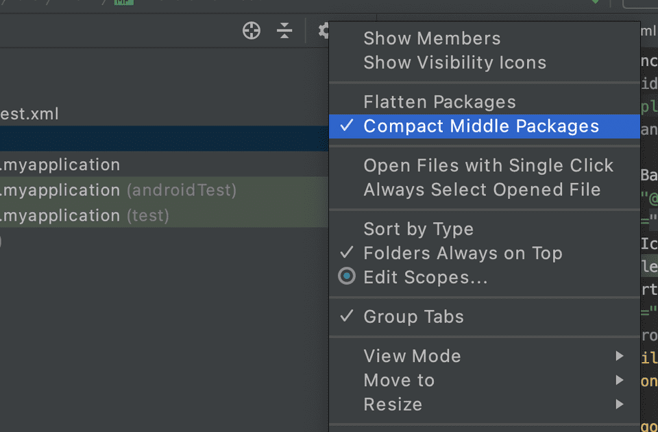 android studio compact middle package