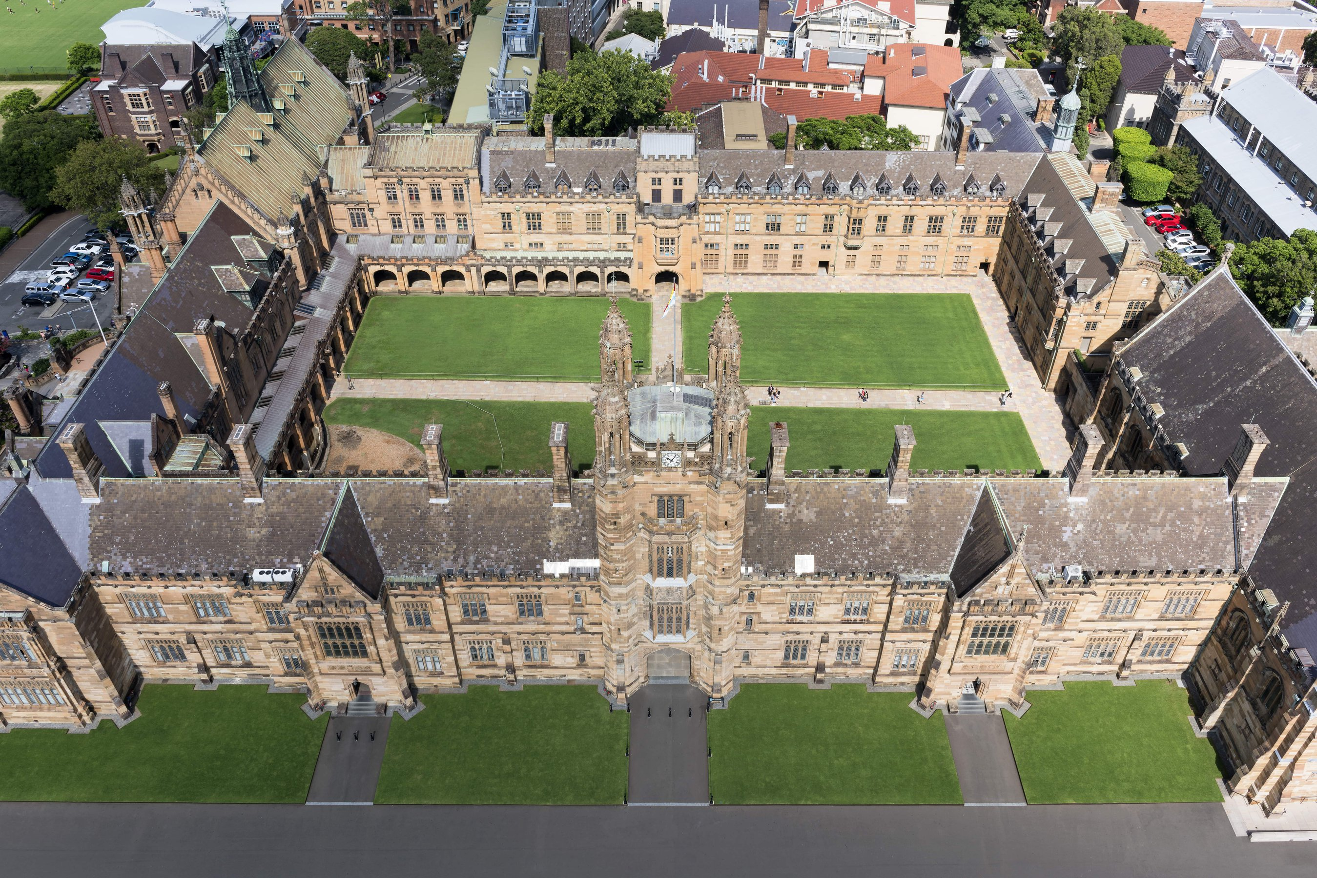Aerial view of the University of Sydney quad