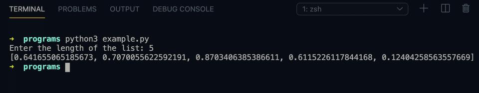 Python random number list