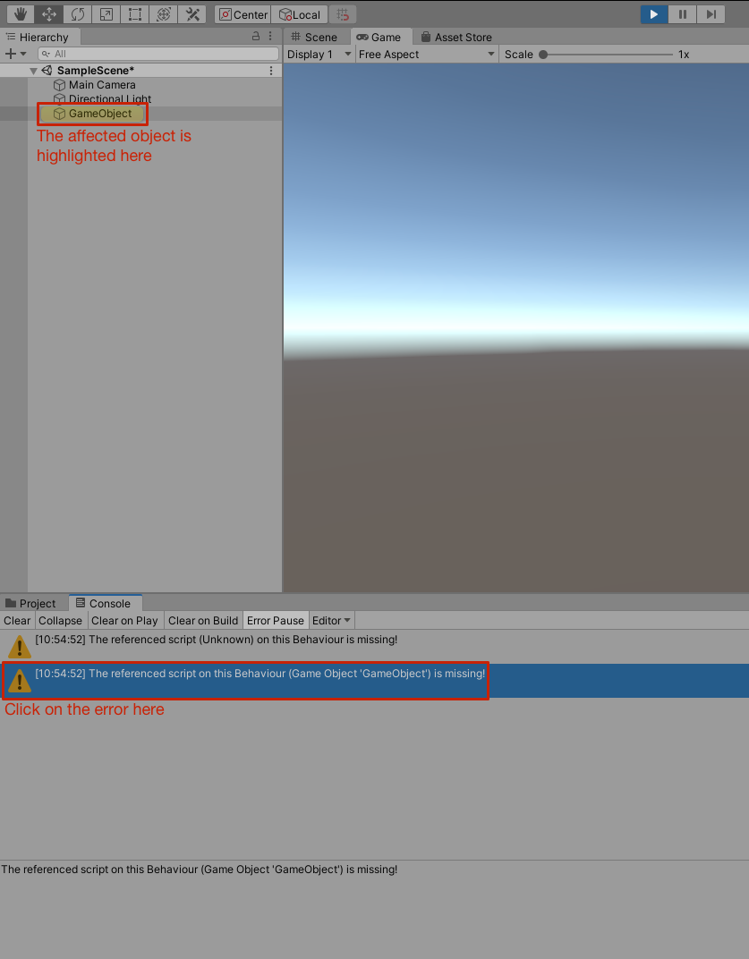 Unity Highlight GameObject with Broken Reference