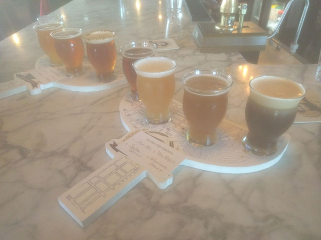 A flight of Moby Dick Brewing beers in New Bedford, MA